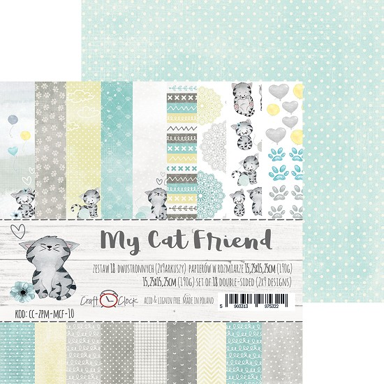 Craft-O-Clock - Paper Collection Set 15,2 x 15,2 cm - My Cat Friend