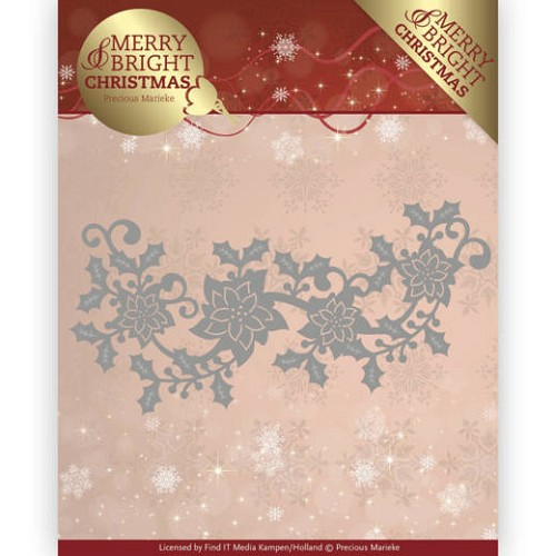 Stansmal  Precious Marieke - Merry and Bright Christmas - Poinsettia Border