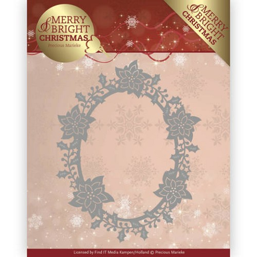 Stansmal  Precious Marieke - Merry and Bright Christmas - Poinsettia Oval