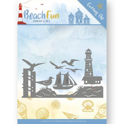 Stansmal Jeanine`s Art - Beach Fun - Lighthouse Border