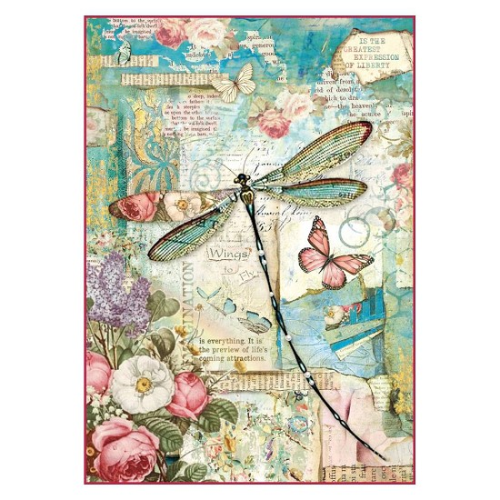 Stamperia - Rice Paper A4 - Wonderland Dragonfly