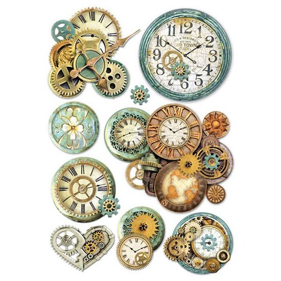 Stamperia - Rice Paper A4 - Gearwheals & Clocks