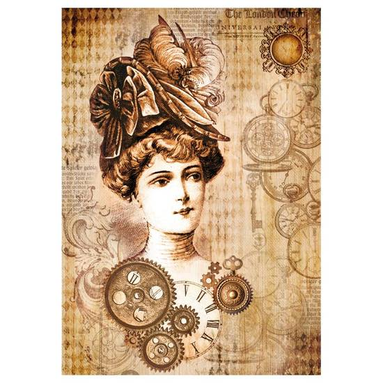 Stamperia - Rice Paper A4 - Steampunk Woman with Hat