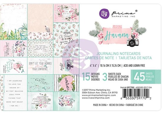 "Prima Marketing - Havana - Journaling Cards 4"" x 6"""