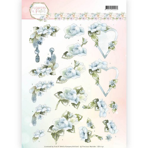 3D Knipvel - Precious Marieke - Flowers in Pastels - Blue Dreams