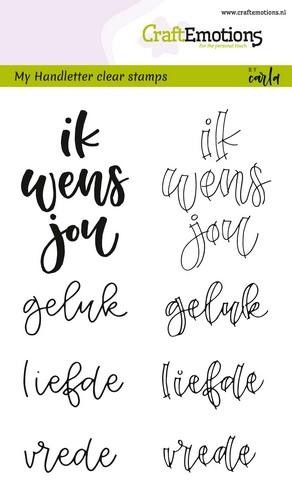 Clearstamp CraftEmotions - Handlettering - Ik wens je