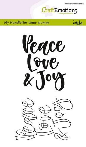 Clearstamp CraftEmotions - Handlettering - Peace Love & Joy