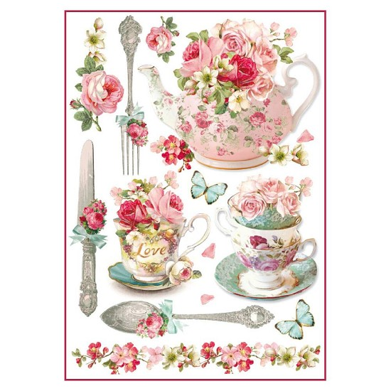 Stamperia - Rice Paper A4 - Floral Mugs & Teapots
