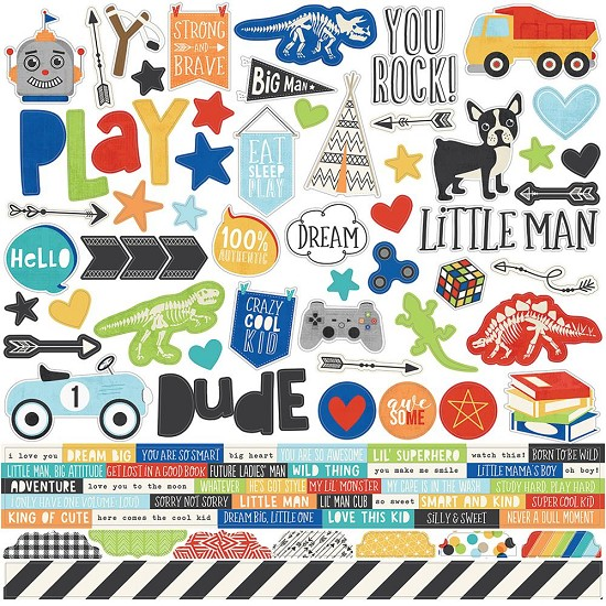 Simple Stories - Lil` Dude - Combo Stickers 30,5 x 30,5 cm