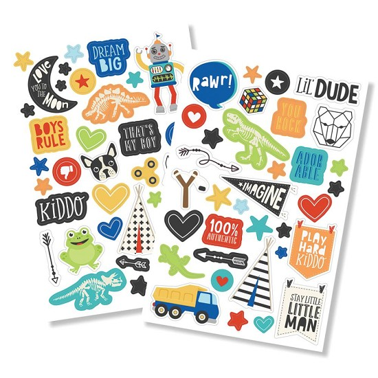 "Simple Stories - Lil` Dude - Puffy Stickers 4""X6"" 2/Pkg"