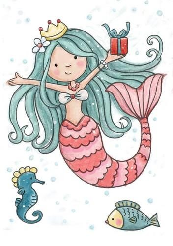 Clearstamp - Wild Rose Studio`s - A7 Mermaid Birthday