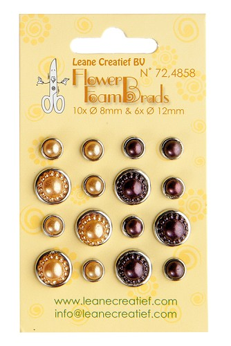 Flower Foam pearl brads yellow & brown 6x 12mm. & 10x 8mm.