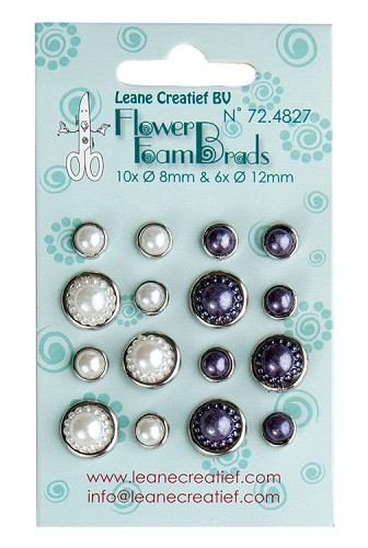Flower Foam pearl brads white & grey 6x 12mm. & 10x 8mm.