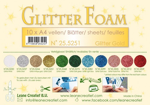 Glitter foam sheets A4 Glitter Gold