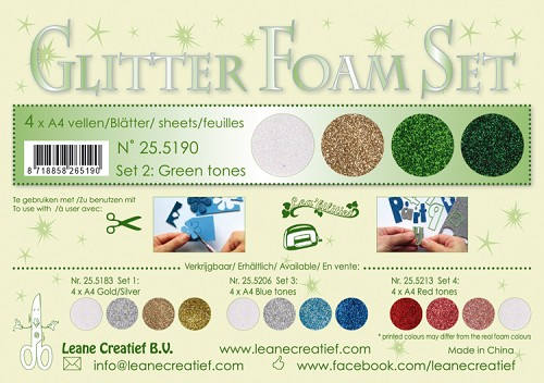 Glitter Foam Set 2 - Green /gold /silver colours.