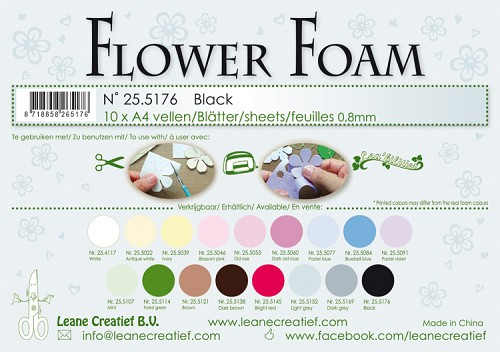 Leane Creatief - Flower foam sheets A4 0.8mm. Black