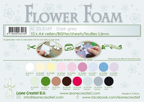 Leane Creatief - Flower foam sheets A4 0.8mm. Dark grey
