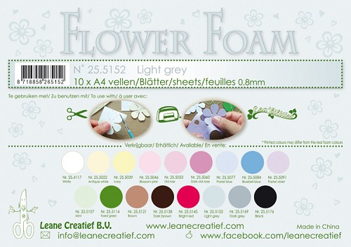 Leane Creatief - Flower foam sheets A4 0.8mm. Light grey