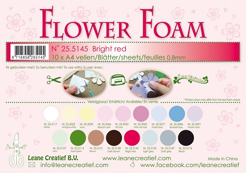 Leane Creatief - Flower foam sheets A4 0.8mm. Bright red