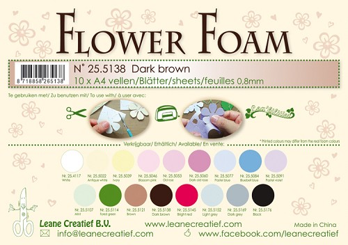 Leane Creatief - Flower foam sheets A4 0.8mm. Dark brown