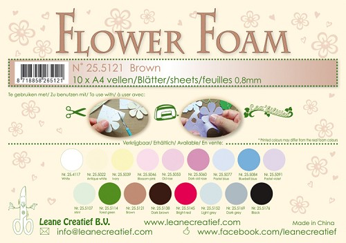 Leane Creatief - Flower foam sheets A4 0.8mm. Brown