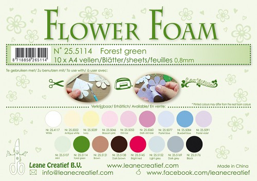 Leane Creatief - Flower foam sheets A4 0.8mm. Forest green