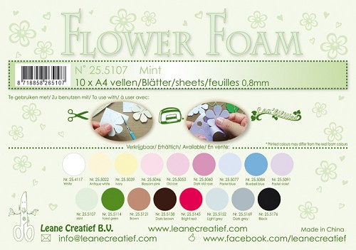 Leane Creatief - Flower foam sheets A4 0.8mm. Mint