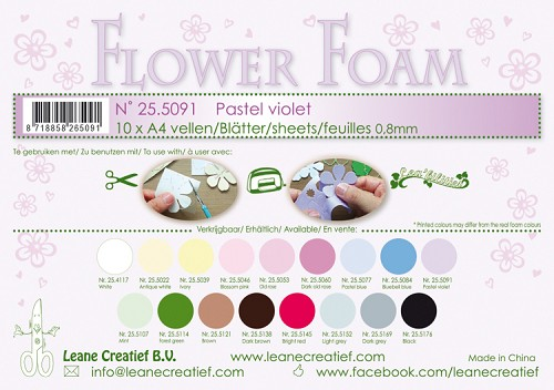 Leane Creatief - Flower foam sheets A4 0.8mm. Pastel violet