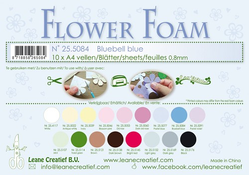Leane Creatief - Flower foam sheets A4 0.8mm. Bluebell blue