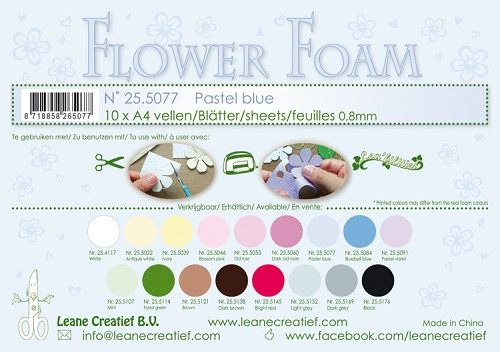 Leane Creatief - Flower foam sheets A4 0.8mm. Pastel blue