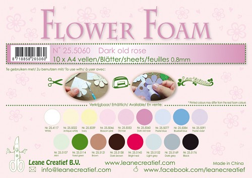 Leane Creatief - Flower foam sheets A4 0.8mm. Dark old rose