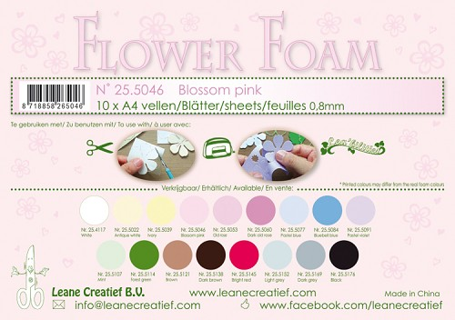 Leane Creatief - Flower foam sheets A4 0.8mm. Blossom pink