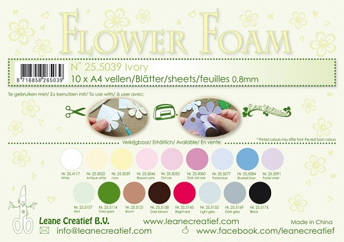 Leane Creatief - Flower foam sheets A4 0.8mm. Ivory