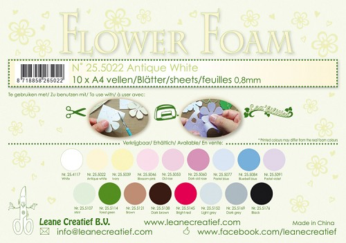 Leane Creatief - Flower foam sheets A4 0.8mm. Antique white
