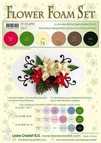 Leane Creatief - Flower Foam Set 9 - 0.8mm. brown-red-green colours