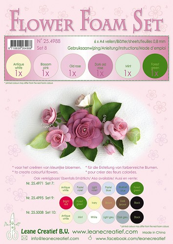 Leane Creatief - Flower Foam Set 8 - 0.8mm. old rose colours
