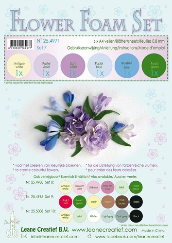 Flower Foam Set 7 - 0.8mm. pastel blue/violet colours