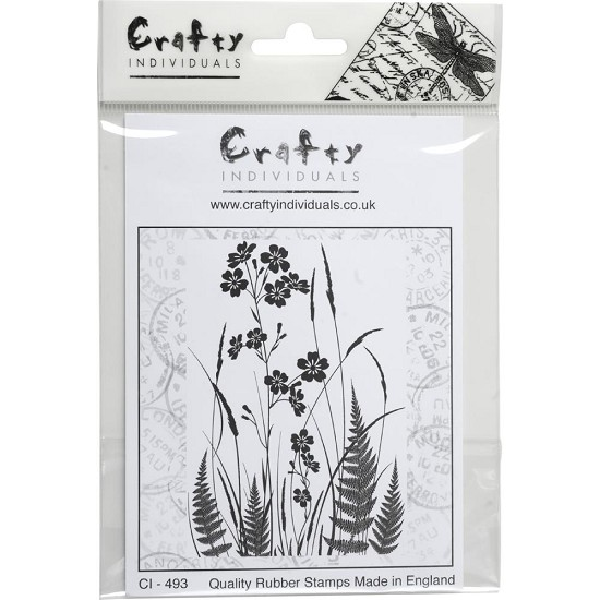 Crafty Individuals - Unmounted Rubber Stamp - Wild Flowers & Ferns Silhouette