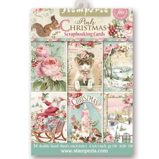 Stamperia -  Scrapbooking Cards - Pink Christmas