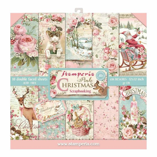 Paperpad Stamperia - 30,5 x 30,5 cm - Pink Christmas