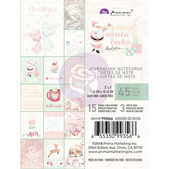 "Prima Marketing - Santa Baby - Journaling Cards 3"" x 4"""