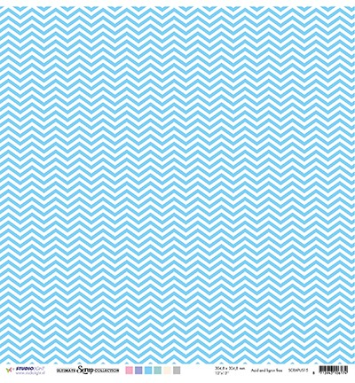 Studio Light - Scrappapier Ultimate Scrap Collection - nr.15 Blauw dots & chevron
