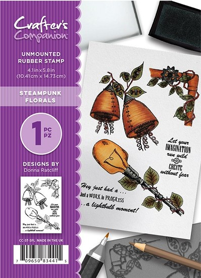 A6 Unmounted Rubberstempel - Crafter`s Companion - Steampunk Florals