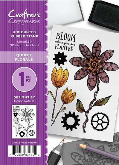 A6 Unmounted Rubberstempel - Crafter`s Companion - Quirky Florals