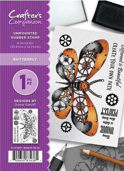 A6 Unmounted Rubberstempel - Crafter`s Companion - Butterfly