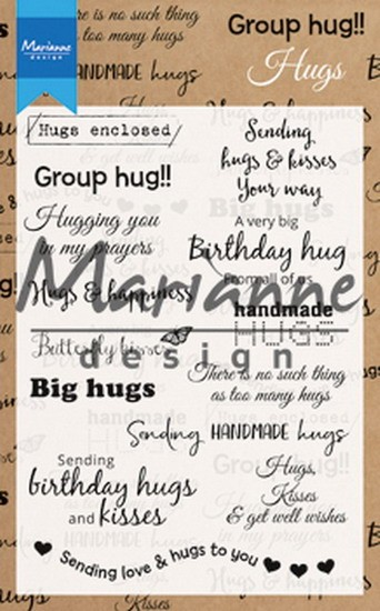 Marianne Design - Clearstamps - Teksten Hugs