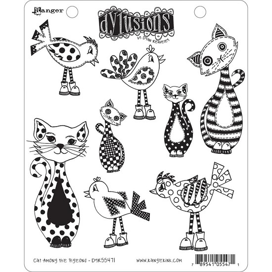 Dyan Reaveley`s - Dylusions Cling Stamp Collections - Cat Among Pigeons