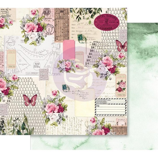 Scrappapier Prima Marketing - Misty Rose - Foiled Scented Love Letters