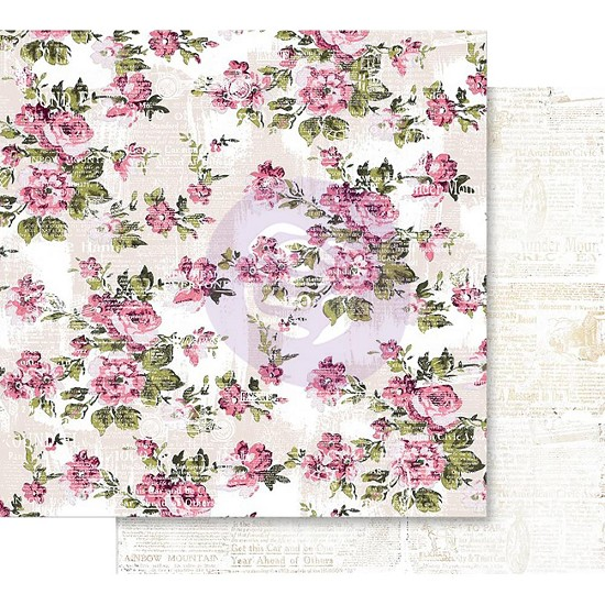 Scrappapier Prima Marketing - Misty Rose - Foiled The Memorable Floral Wall