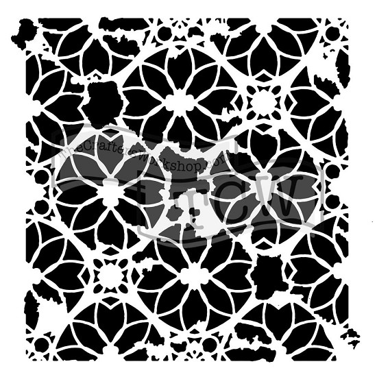 "Mask Stencil - Crafter`s Workshop - 6"" x 6"" - Distressed Lace"